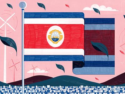 Costa Rica flag michael driver green sustainability environmental landscape editorial folioart digital illustration