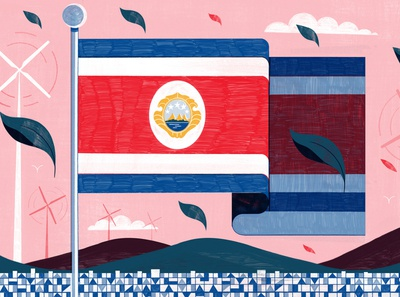 Costa Rica flag michael driver green sustainability environmental landscape editorial folioart digital illustration