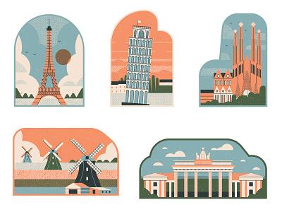 Landmarks line muti buildings architecture landscape travel vector folioart digital illustration