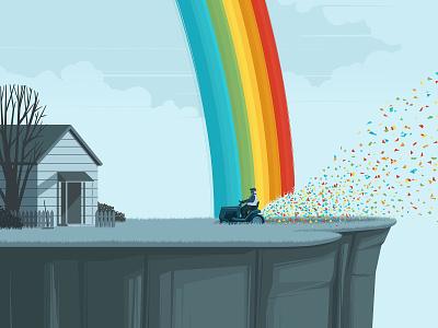Rainbow stephan schmitz landscape garden rainbow conceptual character editorial folioart digital illustration