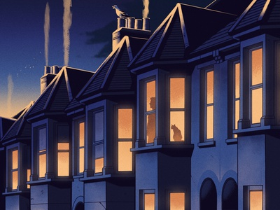 Self Isolation street alexander wells night texture silhouette houses isolation city folioart digital illustration