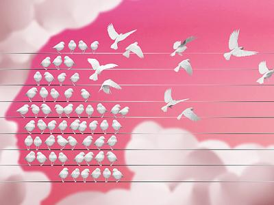 Dementia ollanski conceptual birds sculpture paper craft editorial folioart digital illustration