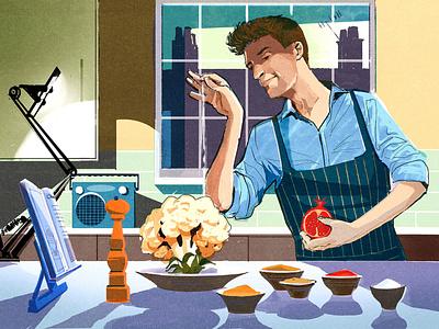 Greg James editorial folioart digital illustration home cooking food alex green portrait