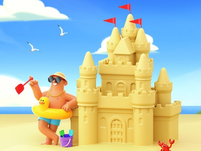 Father's Day arcade studio fathers day dad sandcastle holiday beach character folioart digital illustration