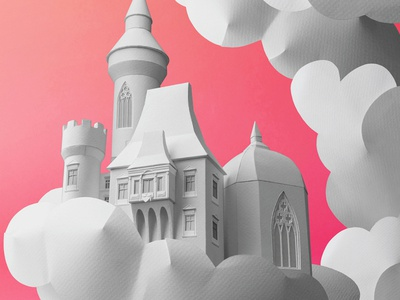 Fantasyland fairy tale fantasy castle paper craft ollanski magazine cover editorial folioart digital illustration