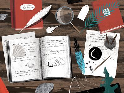 Darwin texture evolution wildlife childrens book education science sam kalda nature folioart digital illustration