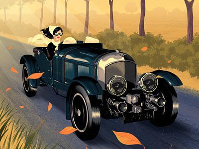 Bentley rui ricardo autumn car vintage cover magazine editorial folioart digital illustration