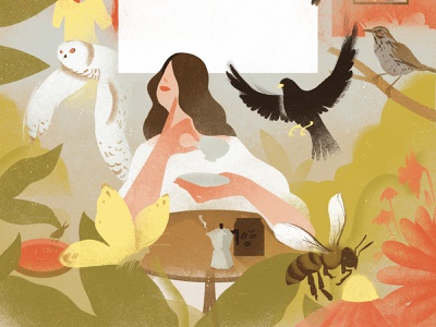 Dawn Chorus texture eleni debo wildlife conservation birds nature character editorial folioart digital illustration