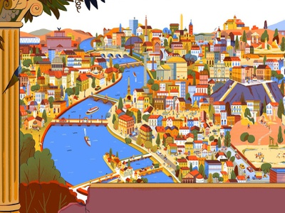 City in Layers book andres lozano travel history map buildings city landscape folioart digital illustration