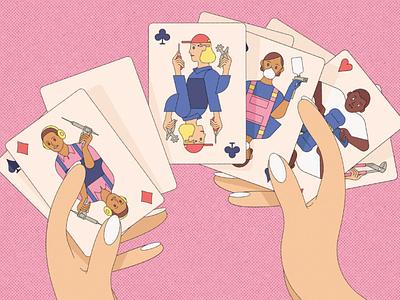 Craftspeople kiki ljung conceptual playing cards vector character editorial folioart digital illustration