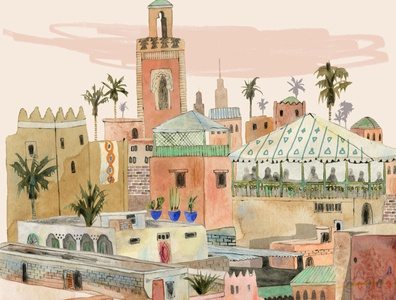 Morocco buildings kate evans watercolour cityscape pattern morocco travel folioart digital illustration