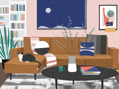Living Room house home sam kalda styling interior furniture design texture editorial folioart digital illustration