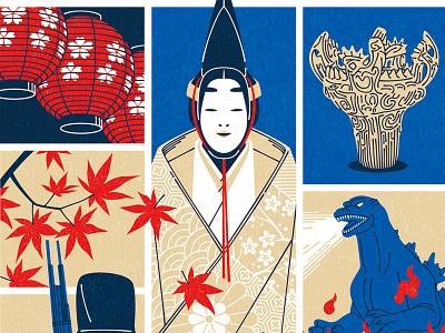 Cultural Expo line kouzou sakai japan travel culture character editorial folioart digital illustration