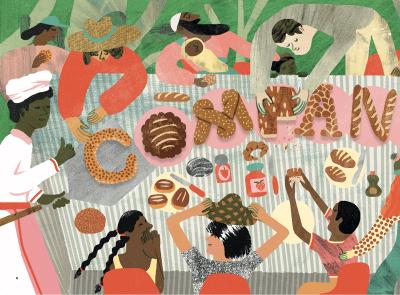 Companion nicholas stevenson education food children childrens book collage texture character folioart digital illustration