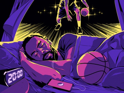 Sleep Studies alexander wells sleep portrait basketball sport editorial folioart digital illustration