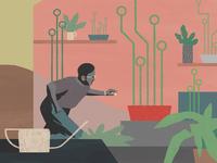 Crypto conceptual billy clark plants technology character editorial folioart digital illustration