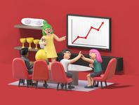 Meeting future business arcade studio office character folioart digital illustration