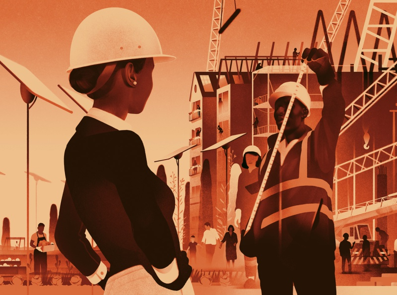 A Fair Economy karolis strautniekas america economy construction landscape texture editorial folioart digital illustration