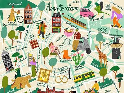 Amsterdam bodil jane animals buildings lettering travel map character folioart digital illustration