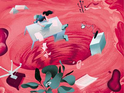 Menstruation eleni debo texture business women conceptual editorial folioart digital illustration