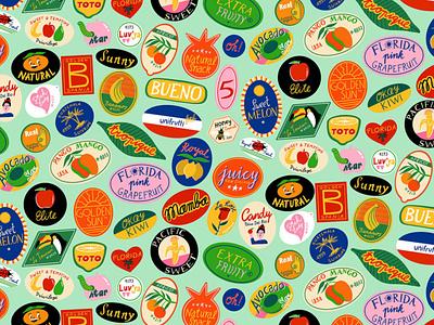 Fruit Stickers pattern bodil jane fruit hand lettering summer typography editorial folioart digital illustration