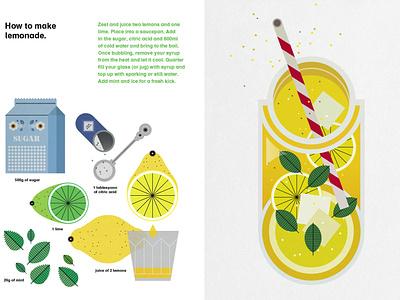 Lemonade sally caulwell instructional drink food infographic summer recipe vector folioart digital illustration