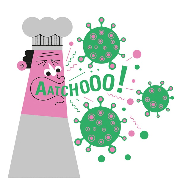 Sneeze vector line character editorial john devolle health folioart digital illustration
