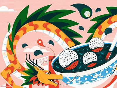Chinatown in Paris michael driver travel culture chinese food dragon editorial folioart digital illustration