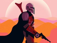 The Mandalorian owen davey star wars sci-fi landscape character editorial folioart digital illustration