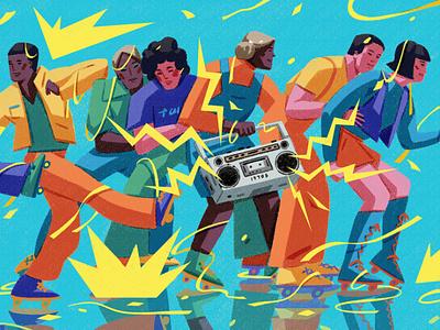 80s Rollerskate xuetong wang pattern colourful sport texture character folioart digital illustration