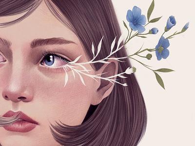 Floral Portrait mercedes debellard girl floral nature flowers woman portarit editorial folioart digital illustration