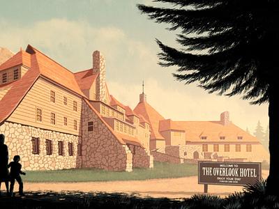 The Shining texture folioart digital illustration silhouette hotel building landscape rui ricardo poster film movie