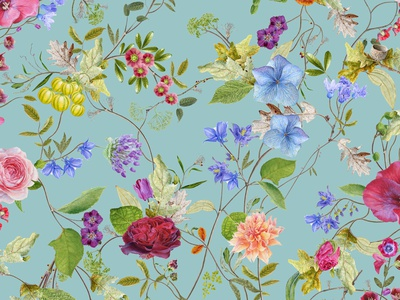 Meadow folioart illustration carolyn jenkins nature flowers painting realist floral watercolour botanical pattern wallpaper