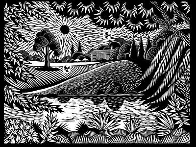 Fields environment nature nick hayes linocut lino landscape book publishing folioart digital illustration