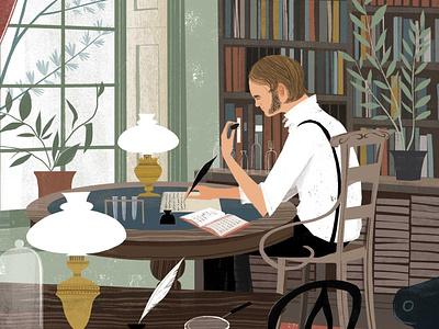 Darwin sam kalda book publishing science history interior character folioart digital illustration