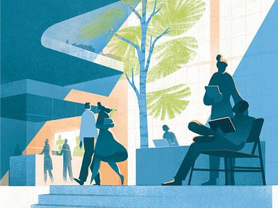 Future Office eleni debo texture futuristic office architecture interior editorial folioart digital illustration