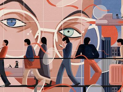 Smart Life xuetong wang people travel conceptual technology character editorial folioart digital illustration