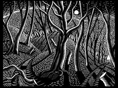 Trees nick hayes linocut lino trees environment nature book publishing folioart digital illustration