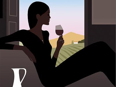 Tuscany Wine jason brooks fashion woman wine landscape folioart digital illustration
