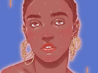 FKA Twigs woman jewellery sarah maxwell realist portrait folioart digital illustration