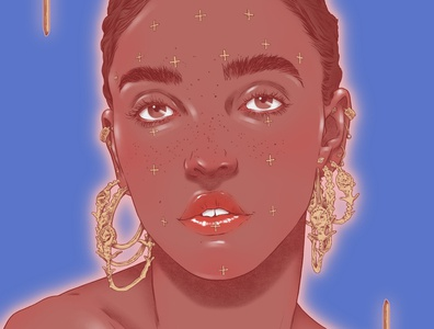 FKA Twigs woman jewellery sarah maxwell realist portrait folioart digital illustration