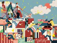 Risk Rewards finance travel xuetong wang conceptual character editorial folioart digital illustration