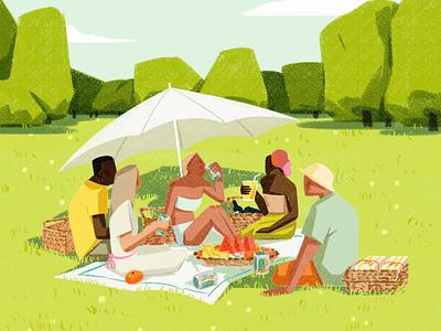Picnic xuetong wang scenic summer drink food folioart digital illustration