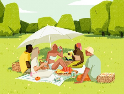 Picnic xuetong wang scenic summer drink food folioart digital illustration