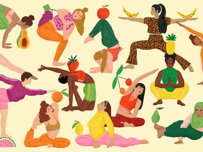 Fruity bodil jane diversity fruit fashion women pattern folioart digital illustration