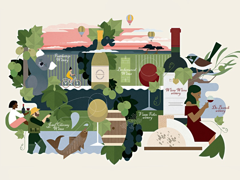 Wine Tour sally caulwell travel botanicals animals nature landscape wine character editorial folioart digital illustration