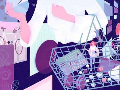 Wellness eleni debo health conceptual shopping technology editorial folioart digital illustration