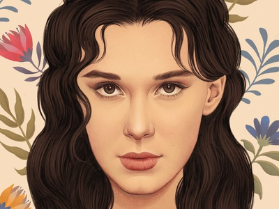 Enola Holmes realist mercedes debellard celebrity portrait editorial folioart digital illustration