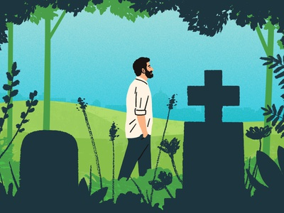 Cemetery Walks michael parkin character walk nature folioart digital illustration
