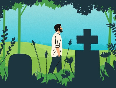 Cemetery Walks michael parkin character walk nature folioart digital illustration